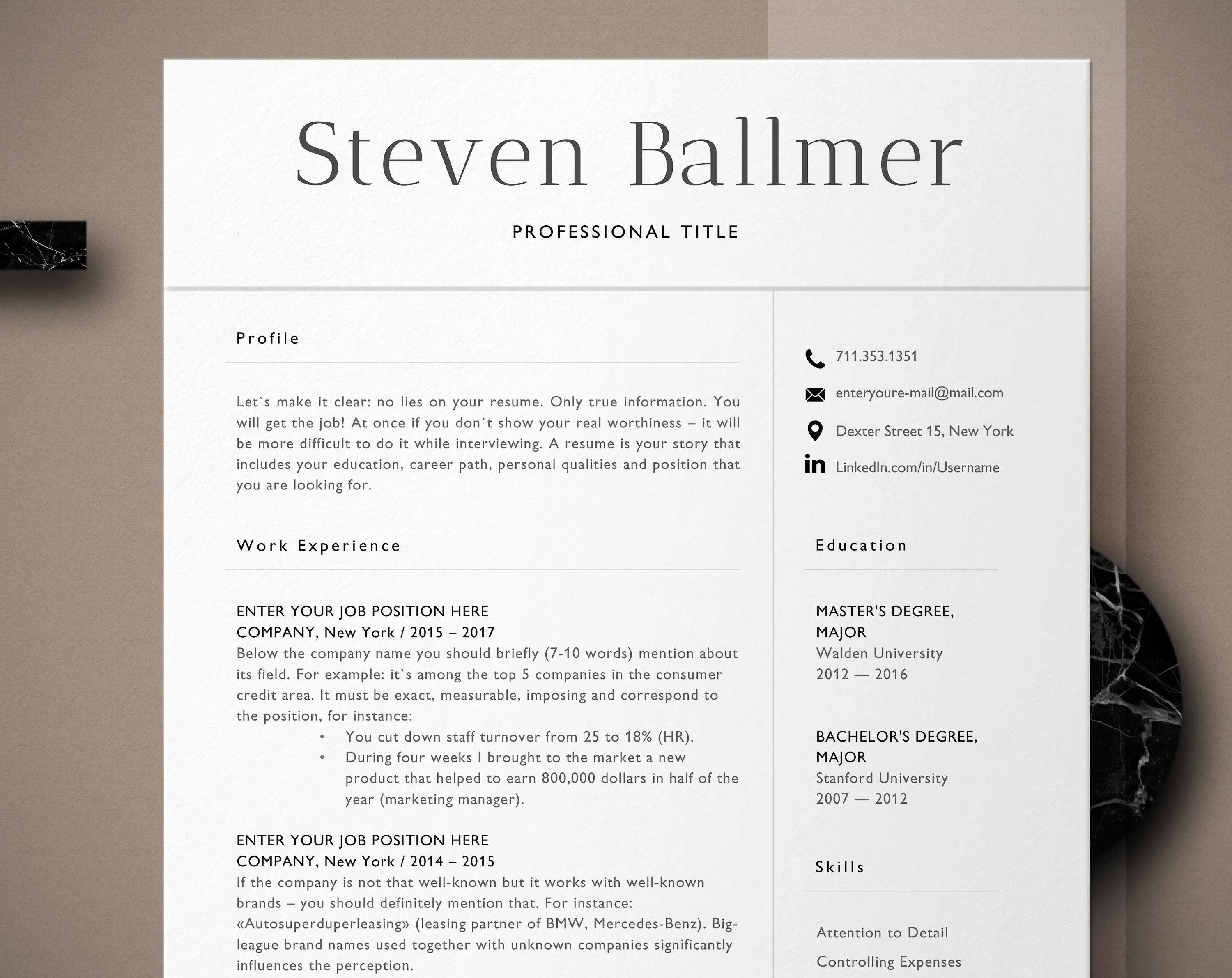 Curriculum Vitae Template Classic Resume CV Template Word Etsy