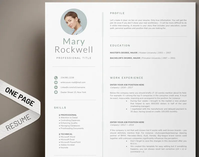 1 Page Resume Template Modern and professional cv template Etsy