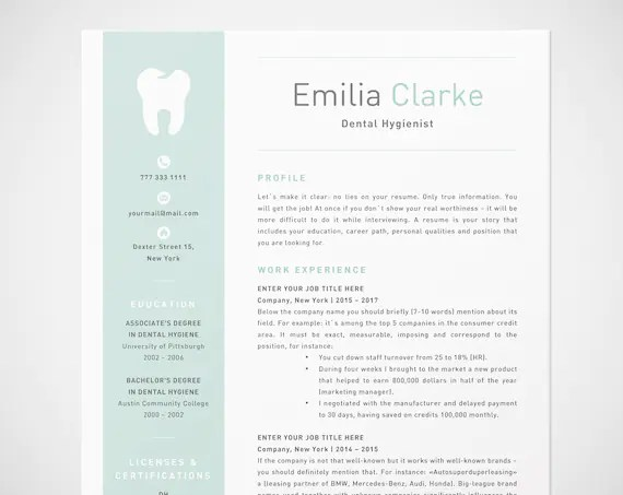 Dental Hygienist Resume Template for Word RDH Dentist CV Etsy - dental hygienist resume template