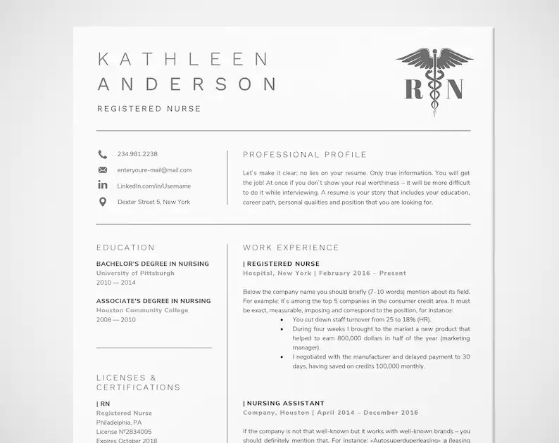 Registered Nurse Resume Template for Word Nursing Resume Etsy