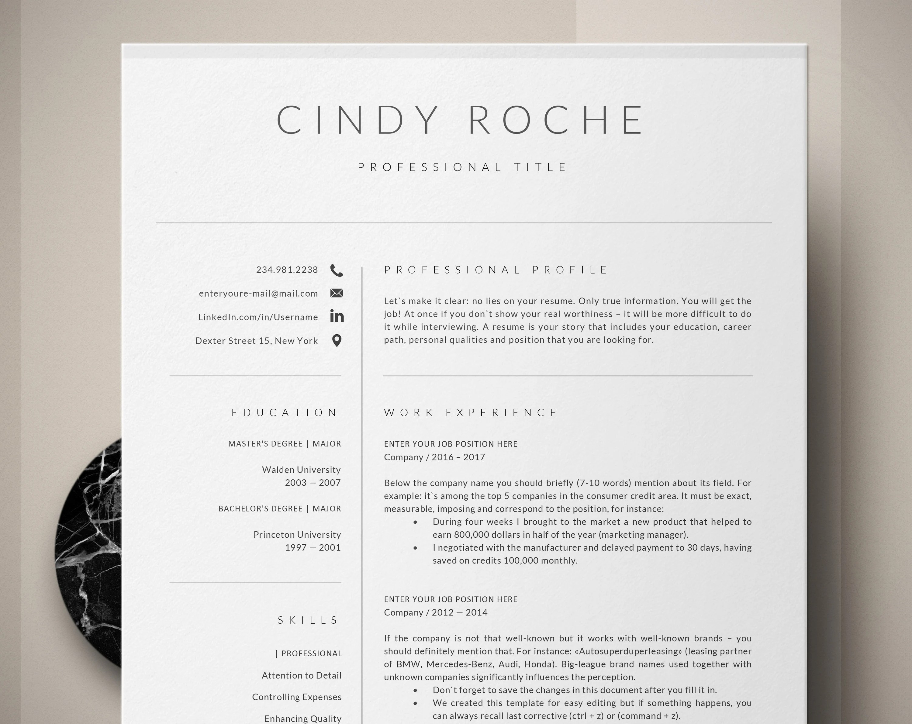 Resume Template Creative CV Template Mac and Pc Resume Etsy