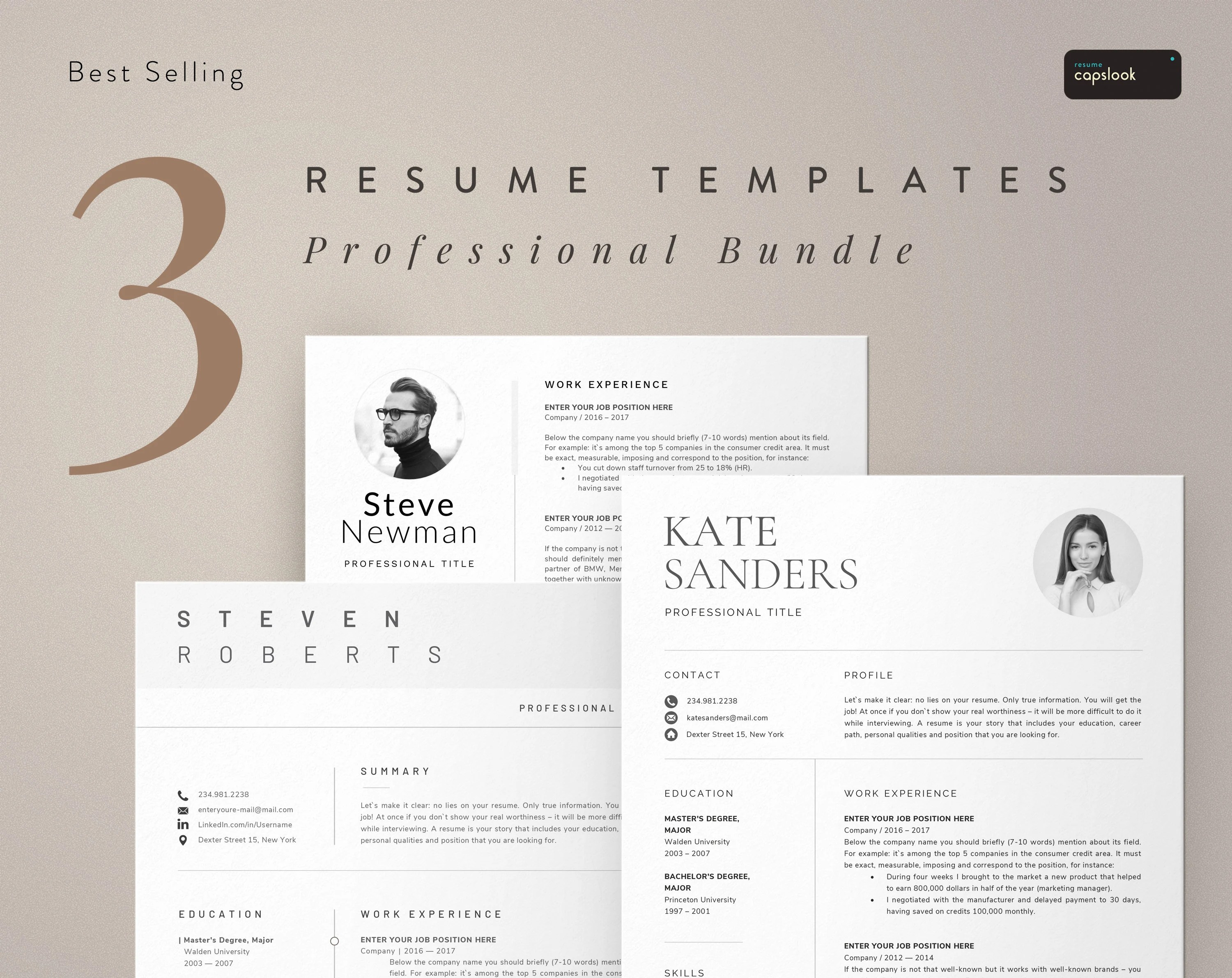Resume Template CV Template Instant Download Professional Etsy