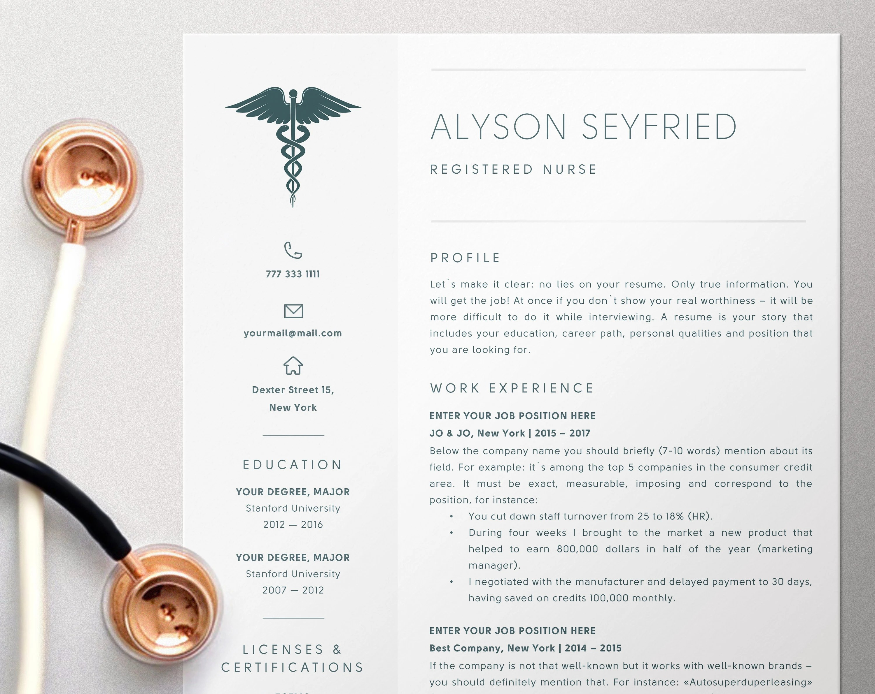 Nursing Resume Template for Word Registered Nurse Resume Etsy