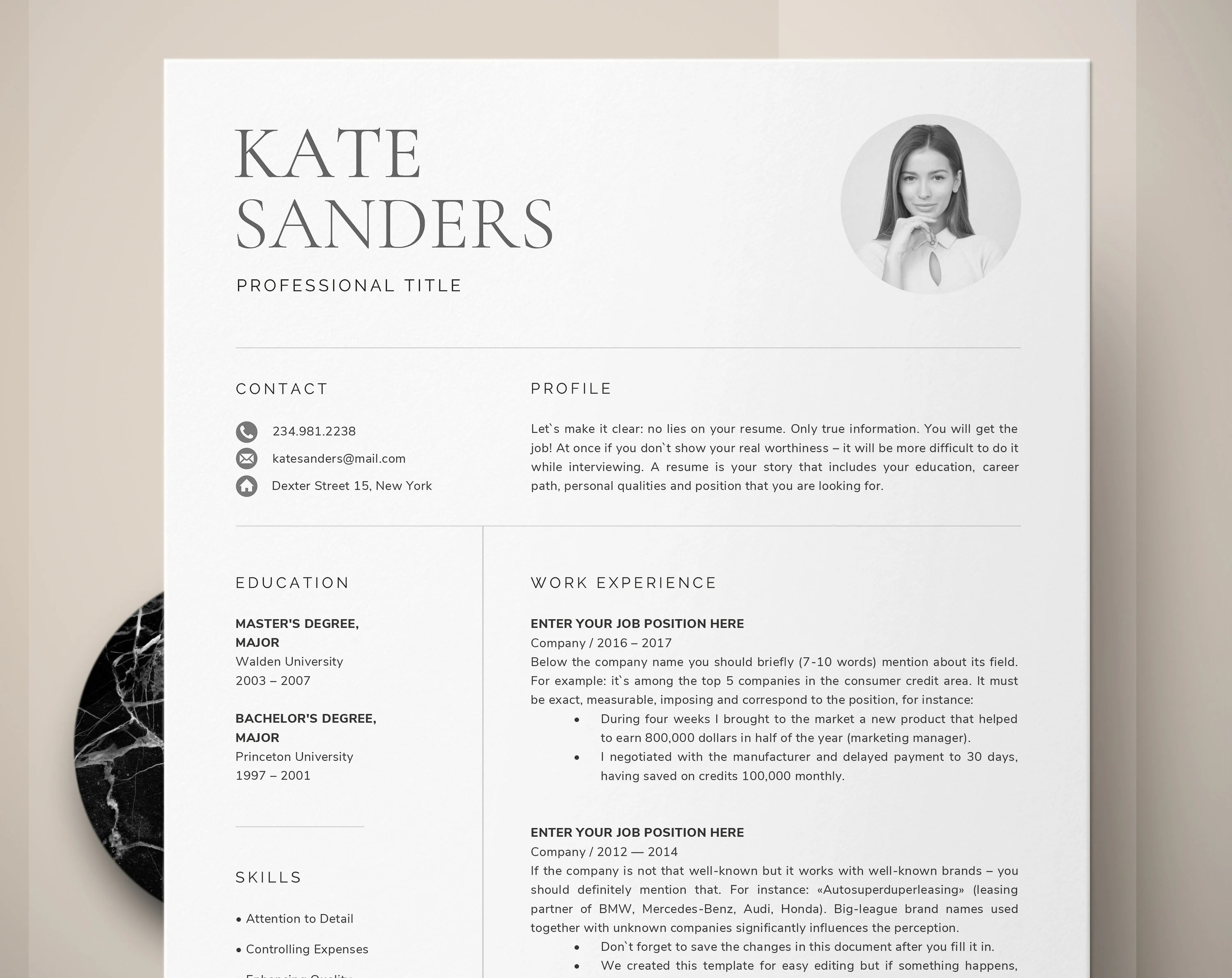 CV Template, Resume Template with Photo, Professional Resume Instant  Download, Creative Resume Templates Word + Free Cover Letter Template