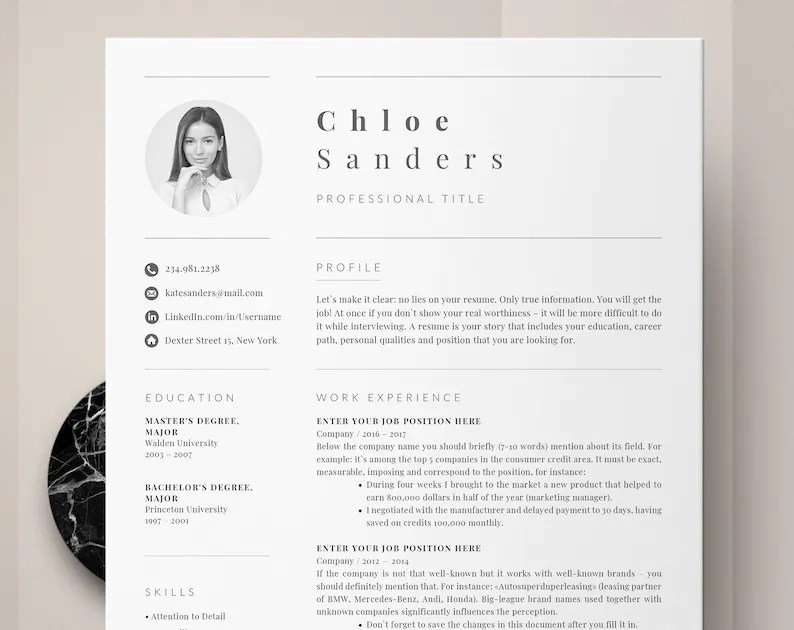 Professional Resume Template Resume Template for Word CV Etsy