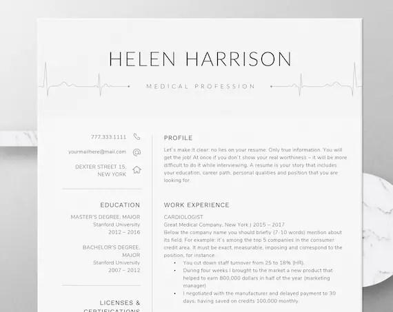 Nurse Resume Template for Word Nursing Resume Template Etsy