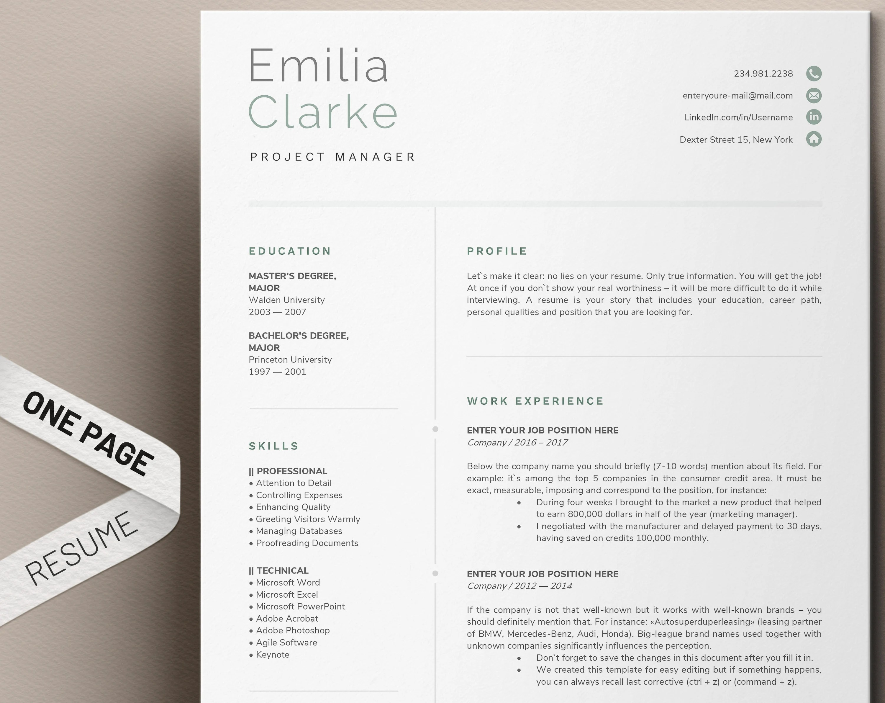 One Page Resume Template for Word Simple Resume Templates Etsy
