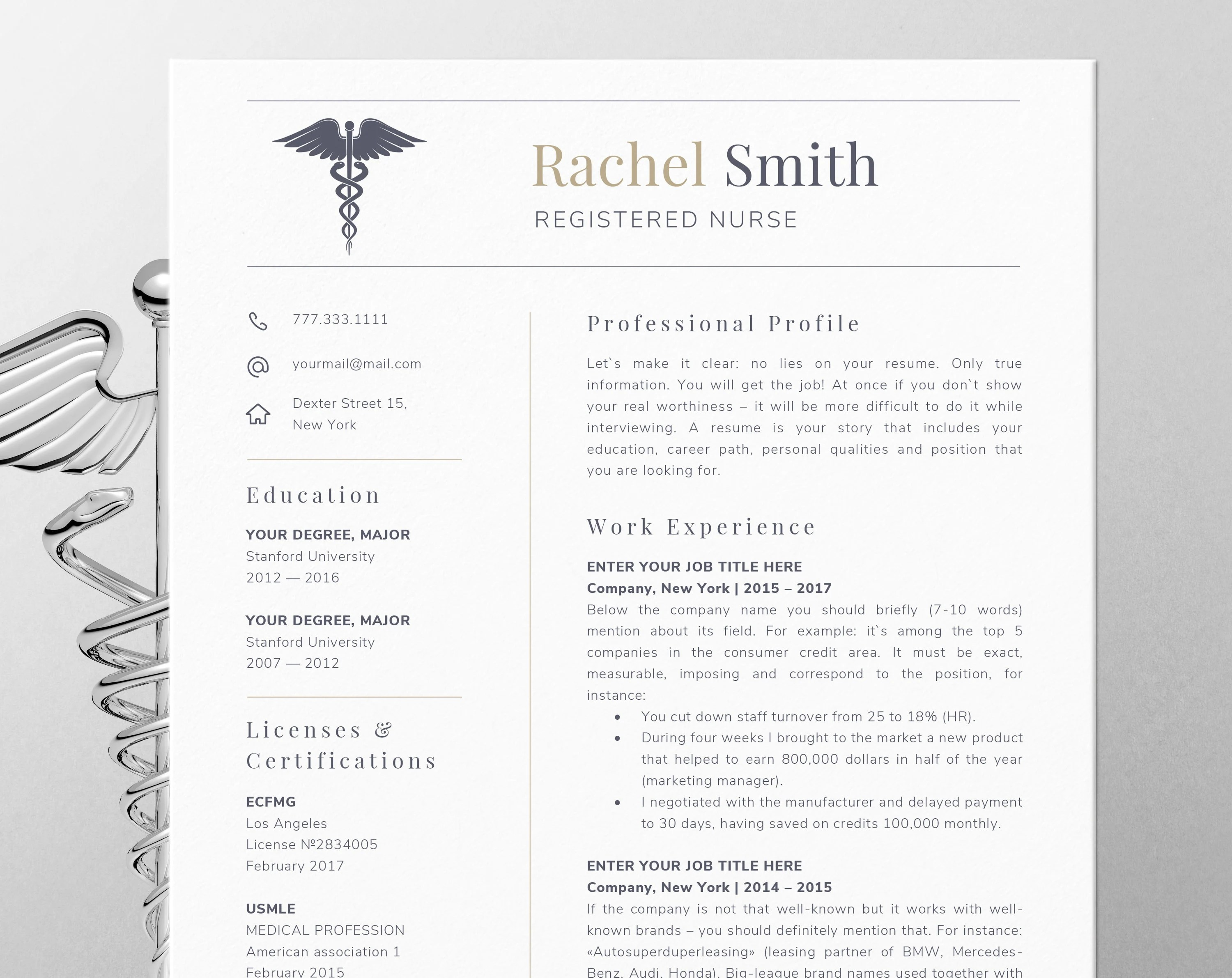 Nursing resume template for word Nurse cv template rn Etsy