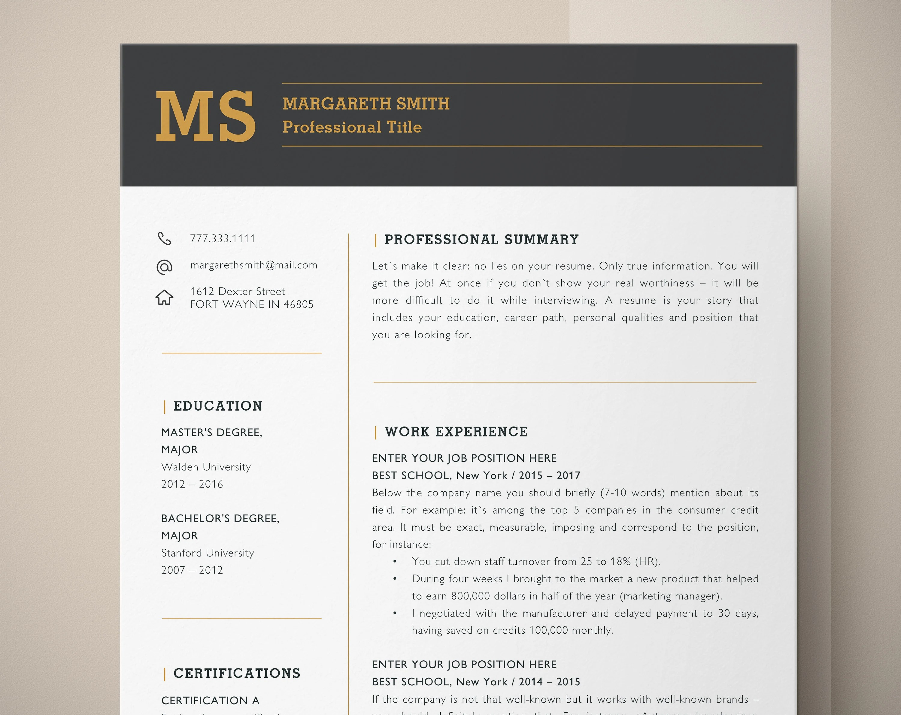 Principal Resume Template for Word Principal CV Teacher Resume Etsy
