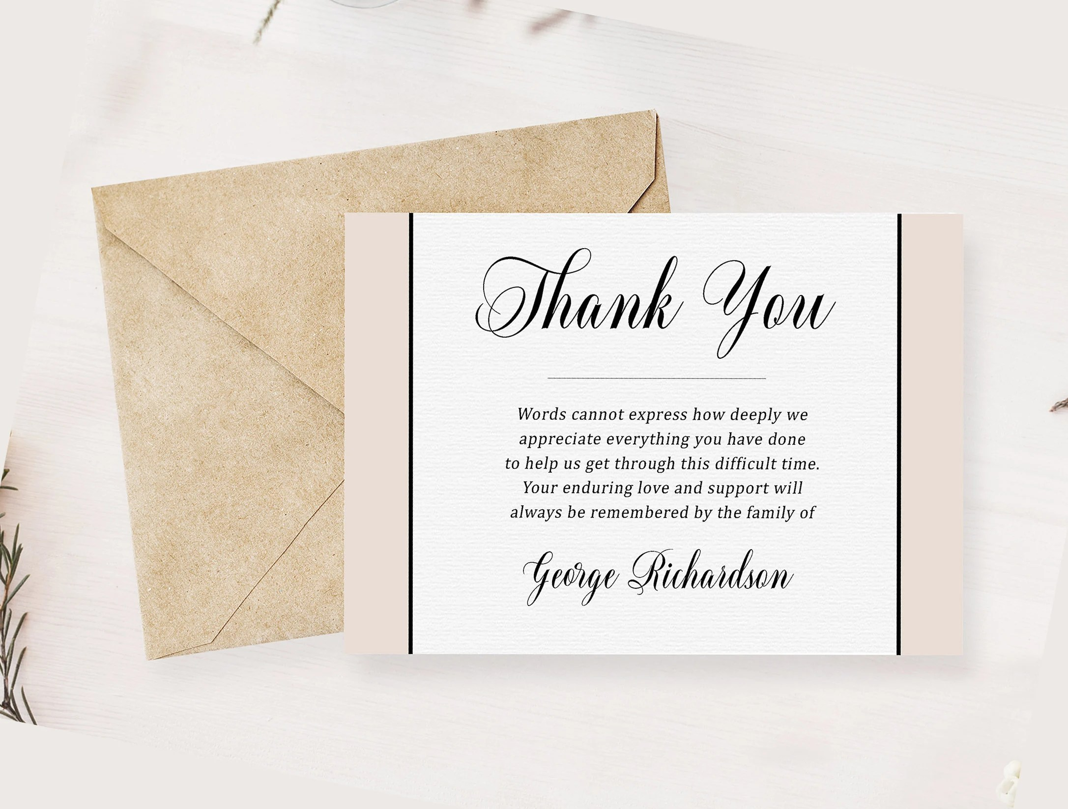 Classic Grey Funeral Thank You Card Memorial Service Editable Etsy