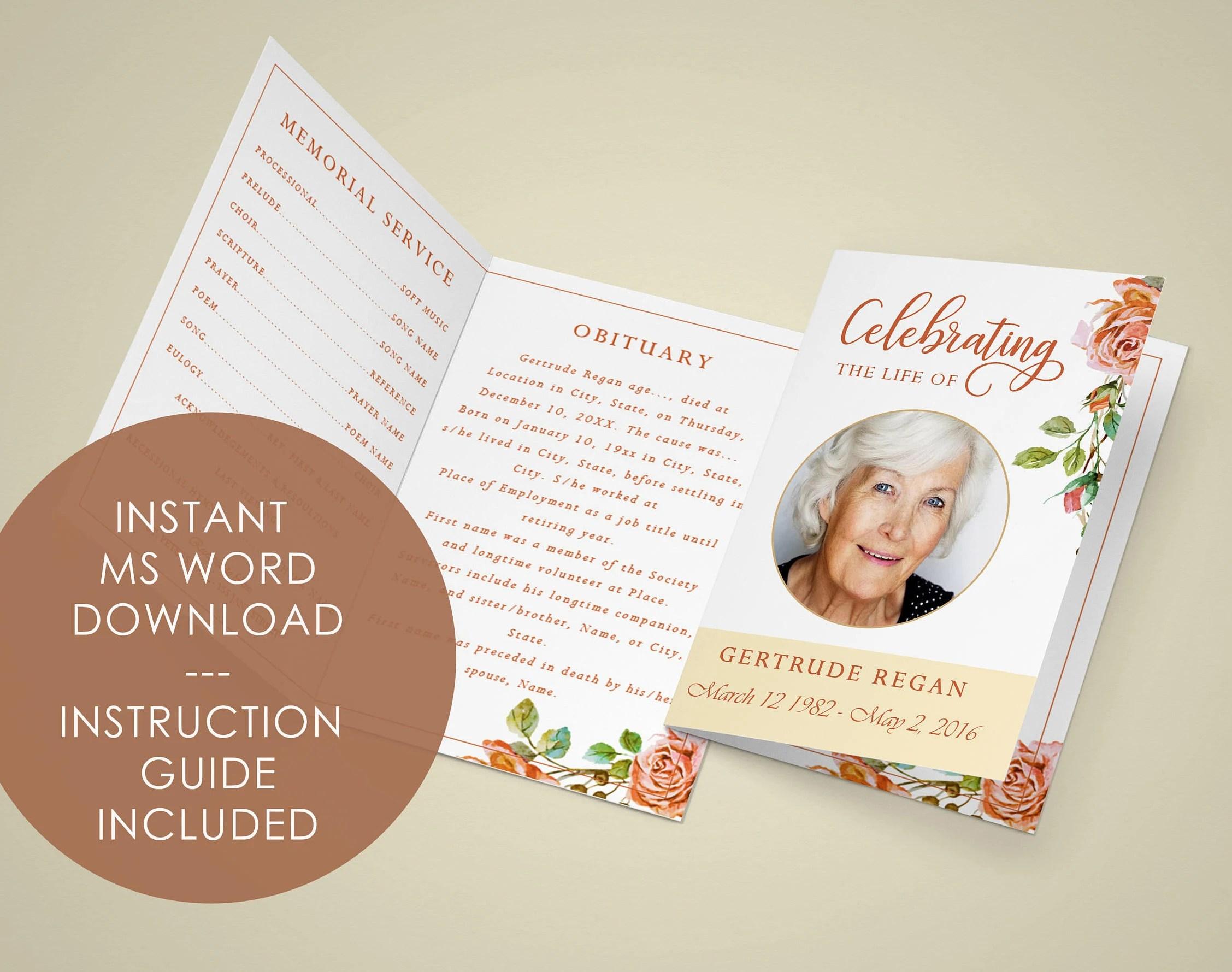 FUNERAL PROGRAM EDITABLE Template Printable Funeral Template Etsy