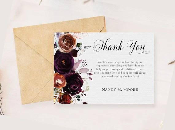 Floral Sympathy Thank You Card Memorial Service Editable Etsy