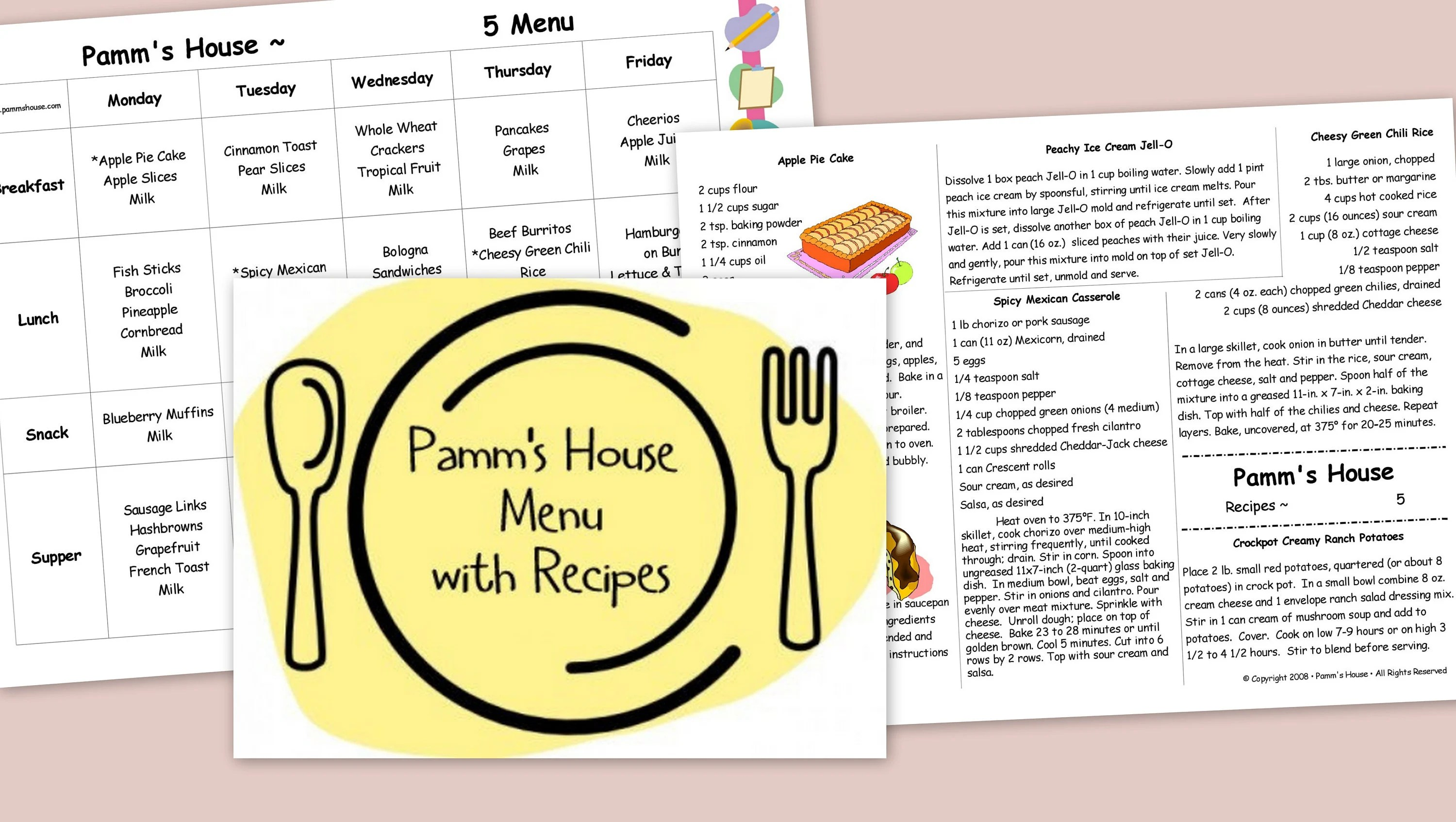 Printable Menu with Recipes 5 For Family or Daycare Etsy