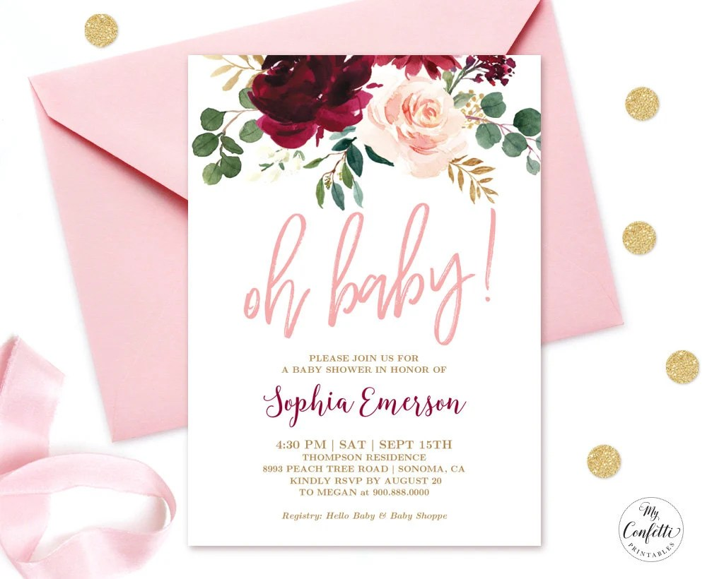 EDITABLE Invitation Pink Burgundy Floral Baby Shower Etsy