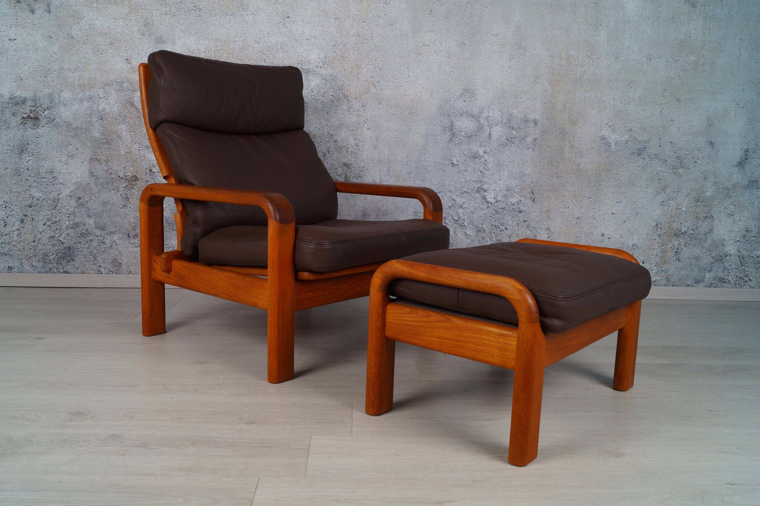 Teak Sessel Danish Danish Teak Armchair With Stool By L Olsen Son Nappaleder 1960s