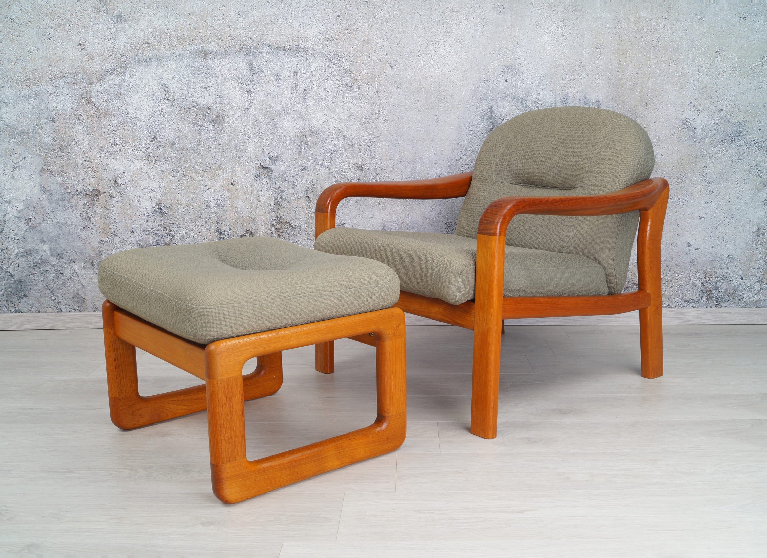 Teak Sessel Danish Teak Sessel Mit Hocker 60er 70er Jahre Midcentury Danish Design Holstebro Relax Chair