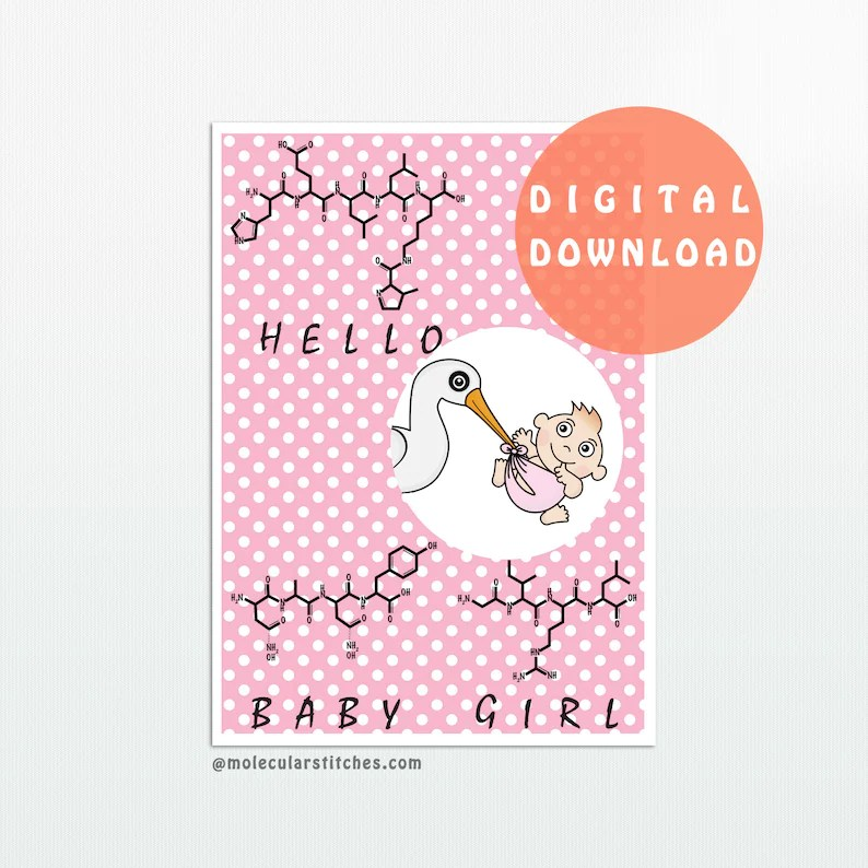 Chemistry baby girl card science baby girl card new baby Etsy