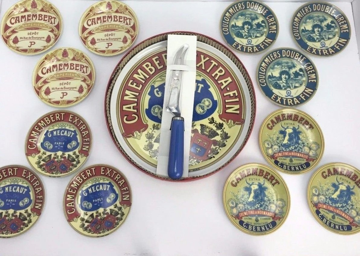 Cucina Arte Bern G Mecaut 13 Piece Camembert Cheese Collector Plate Set Paris France 2004 Boxed New Old Stock