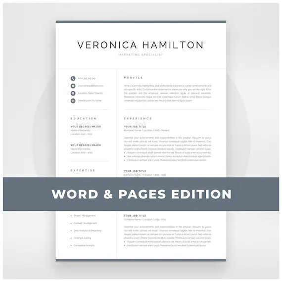 Resume Template Professional Resume Template 1 and 2 Page - resume template professional