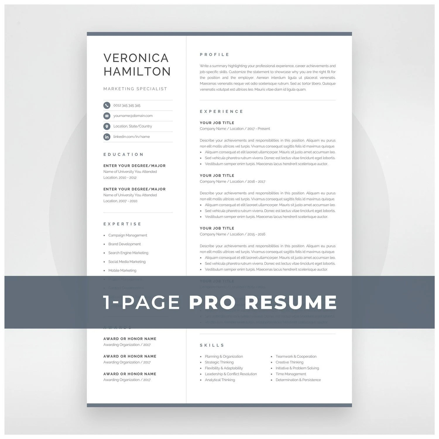 Professional Resume Template Compact 1 Page Resume Template Etsy