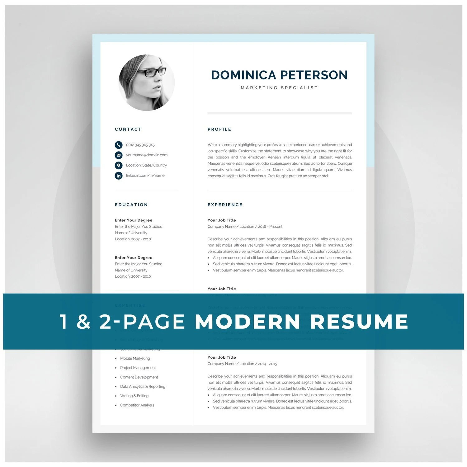 Modern Resume Template Creative CV with Photo 1 2 Page Etsy