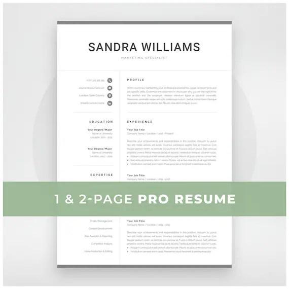 Professional Resume Template for Word Modern Marketing CV Etsy