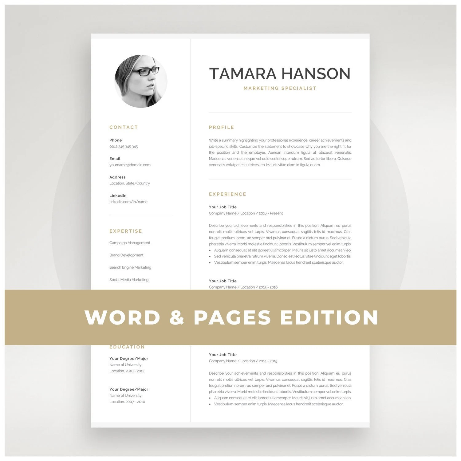 Modern CV Template with Photo 1 2 Page Resume Etsy