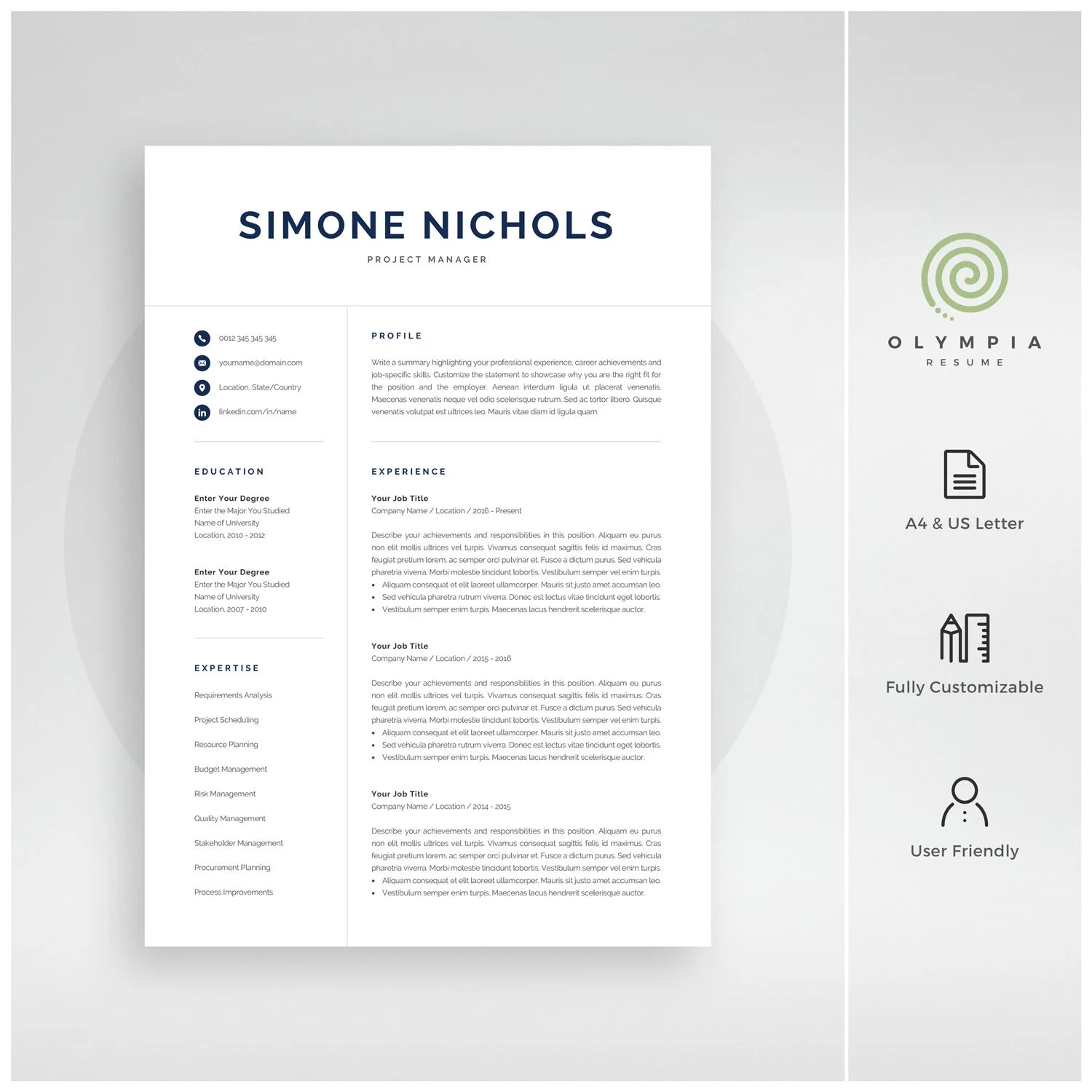 Professional Resume Template for Word  Mac Pages 1 and 2 Etsy