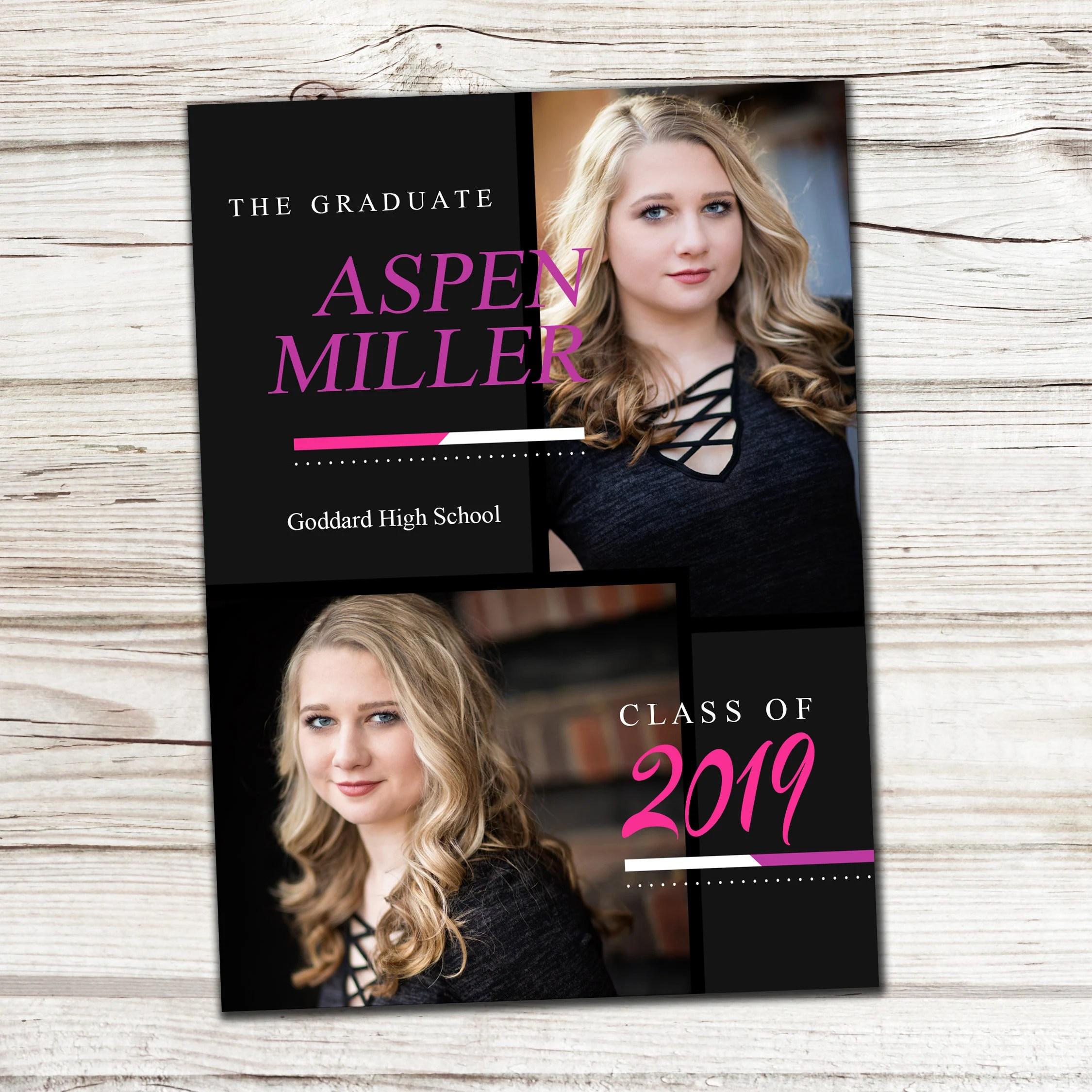 Printed Graduation Card Graduation Party Photo Cards Custom Etsy