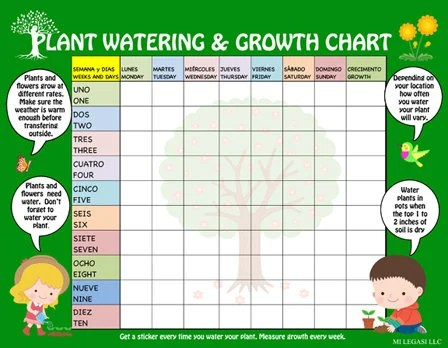 Bilingual Plant Watering  Growth Chart for Kids Days of the Etsy