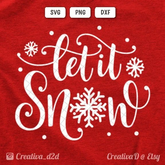 Let It Snow SVG DXF PNG Snowflake Svg Christmas Svg Winter Svg Etsy