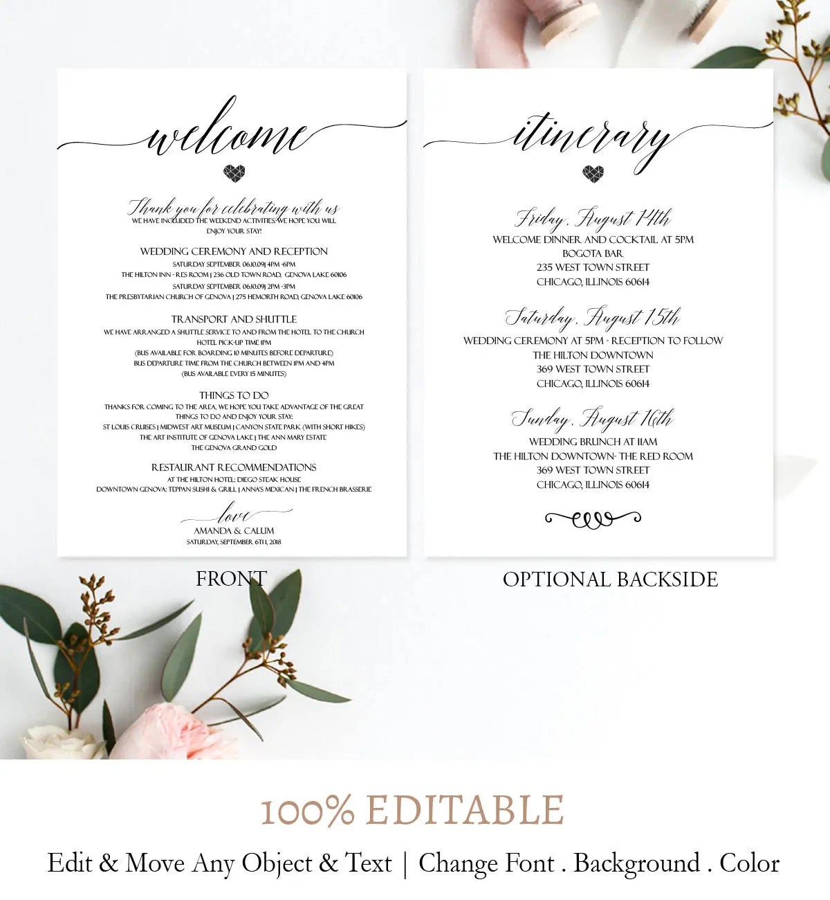 Simple Welcome Letter Template Elegant Wedding itinerary Etsy
