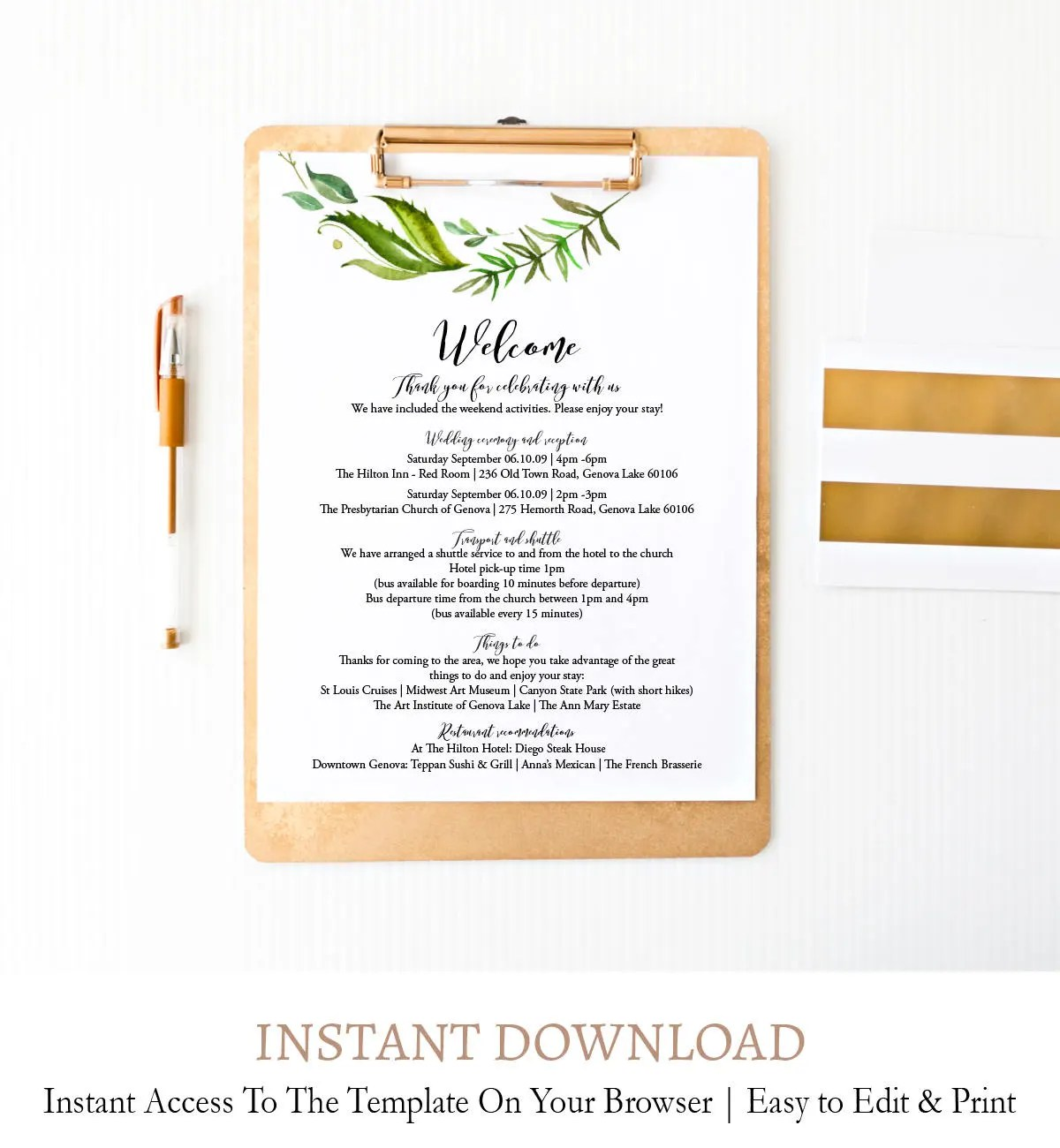 Wedding Welcome Letter Greenery Wedding Schedule Template Etsy