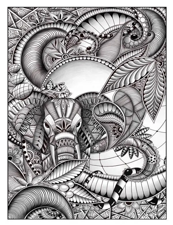 Zentangle Elefant Vorlage Elefant Zentangle Doodle Kunst