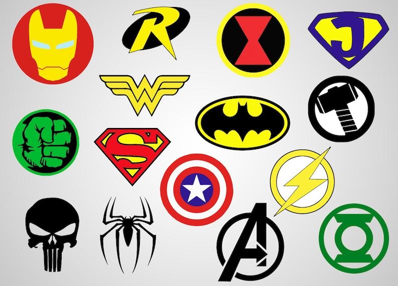 Superheroes Logos Vinyl Decal SVG file Printable Etsy
