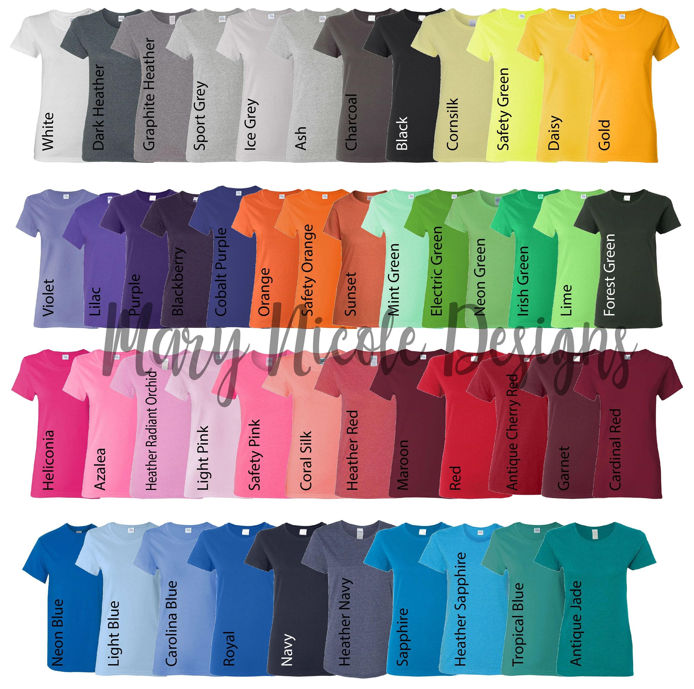Every color Digital File Shirt Color Chart   Gildan 500L Etsy
