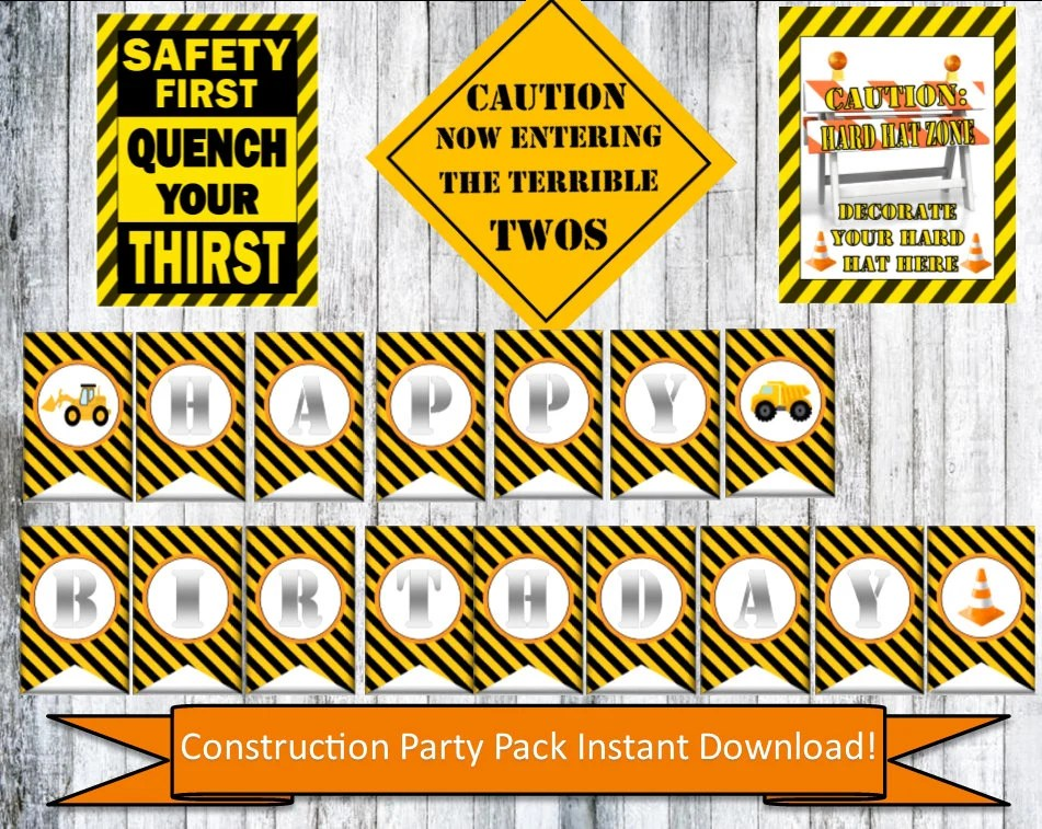 Construction Party Printable Pack Construction Party Signs Etsy