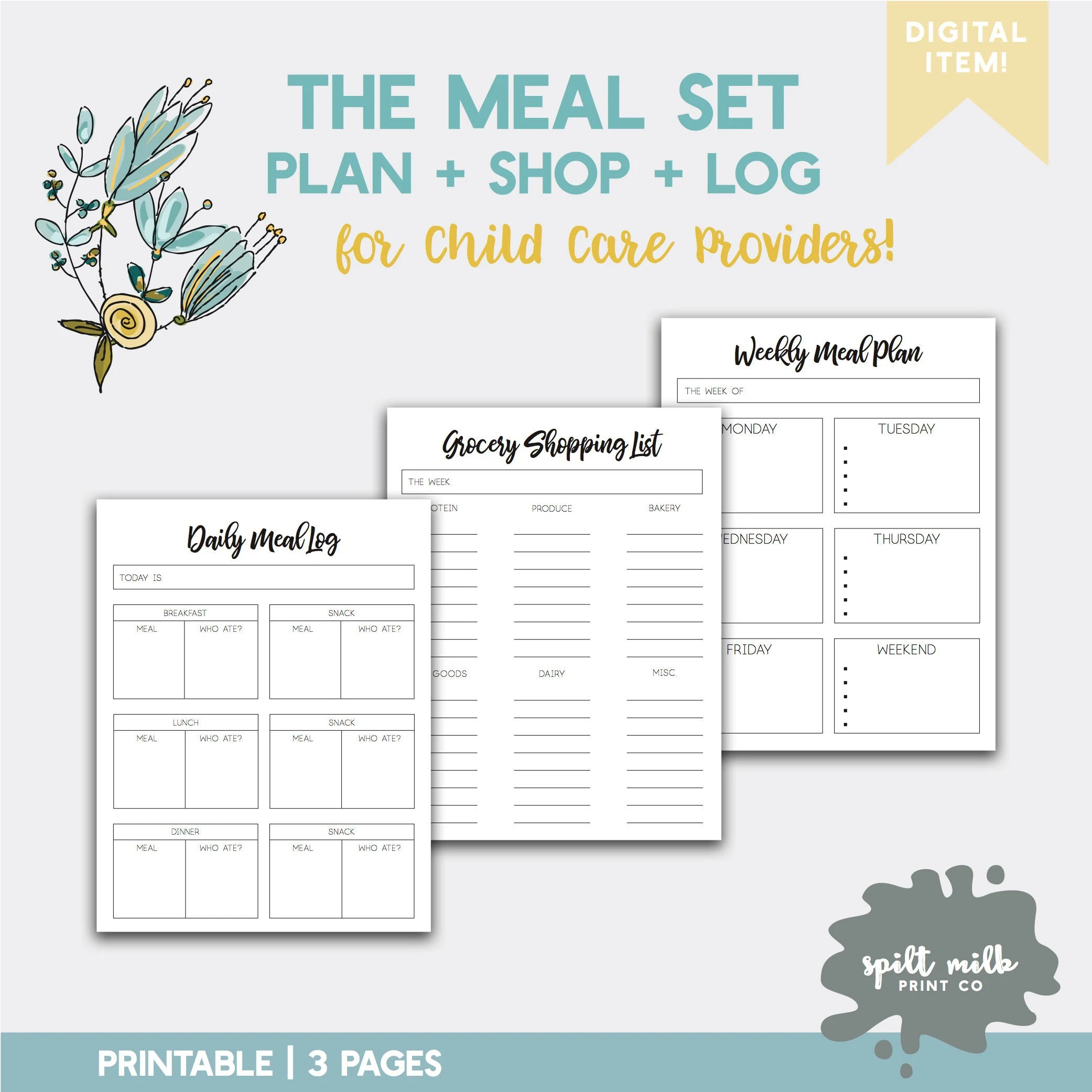 The Simple Meal Set Plan Shop Log Forms for Daycare Etsy