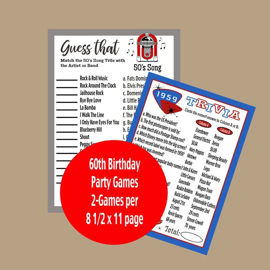 60th Birthday Party Games Adult Party Games 1959 Year Etsy