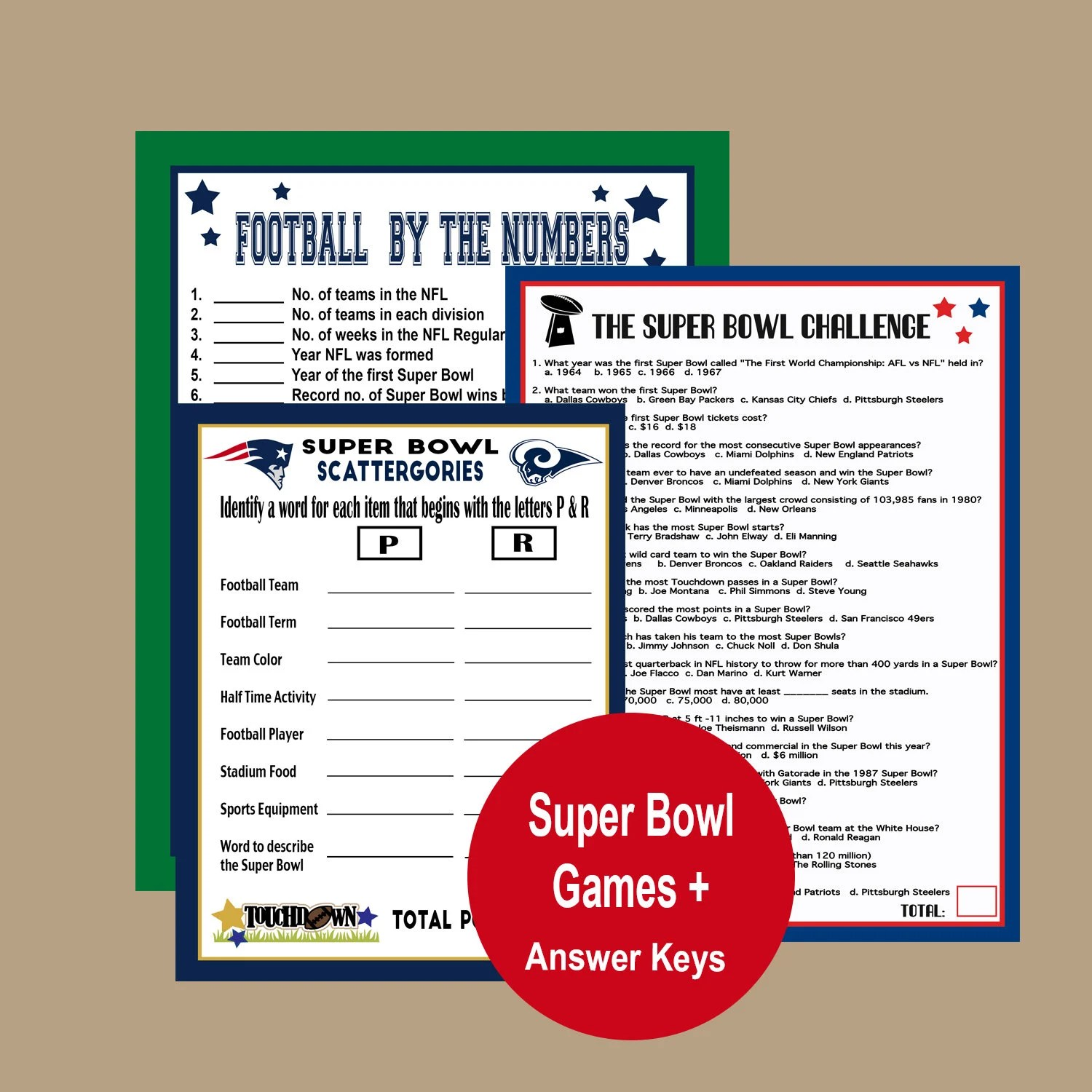 Super Bowl 2019 Games Football Trivia Super Bowl Party Etsy