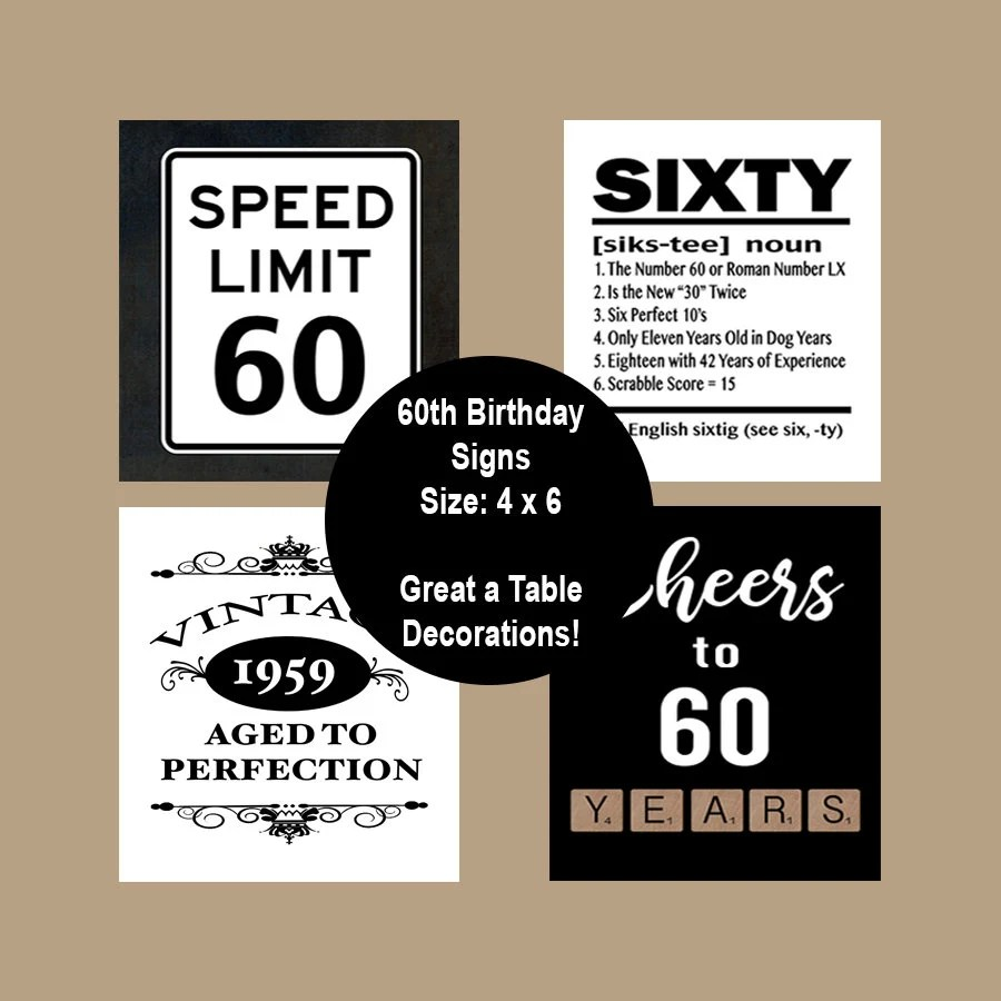 60th Birthday Printable Table Party Signs 60 Birthday Party Etsy