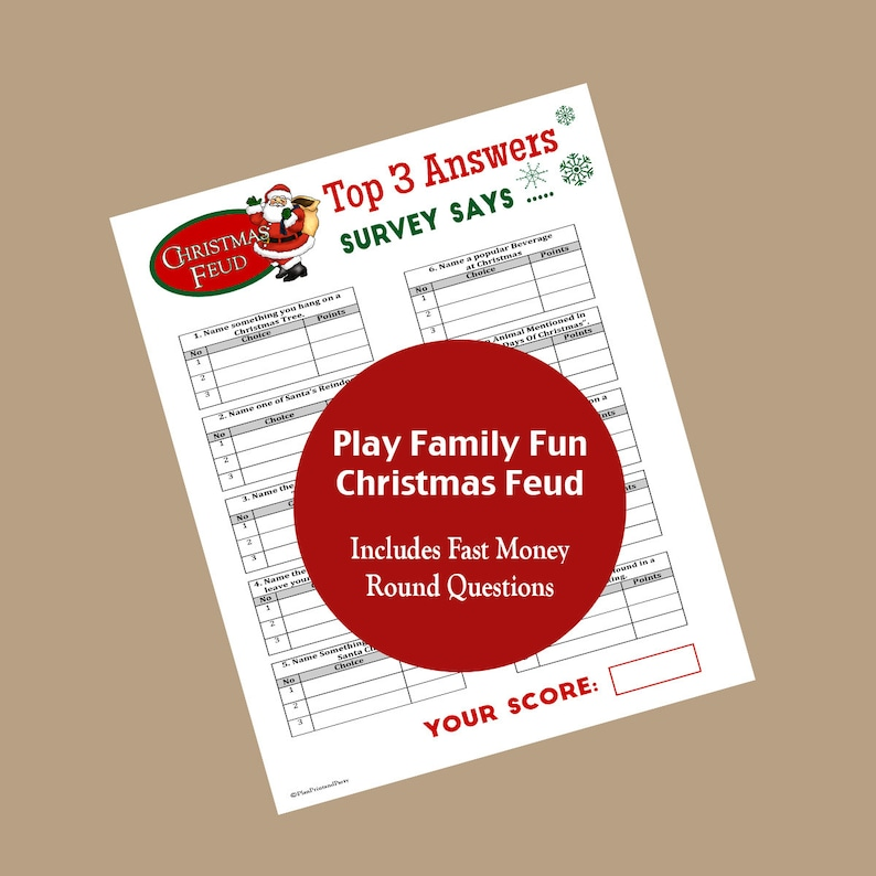 Family Feud Christmas Edition Family Feud Game Christmas Etsy