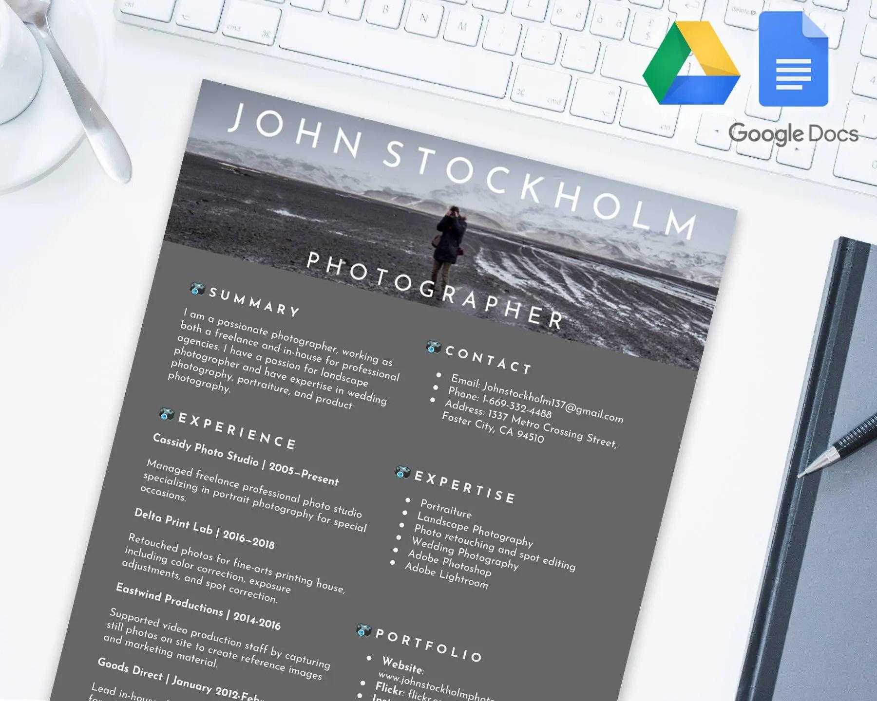 PHOTOGRAPHER Editable Resume Template for Google Docs Google Etsy
