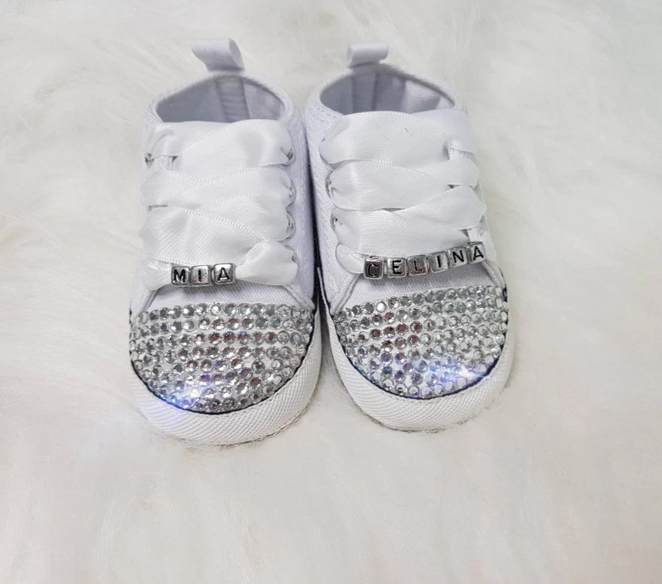 Baby White Converse Pram Shoes Personalised Unisex Crib Baby Pram Crib Converse Custom Shoes Personalised