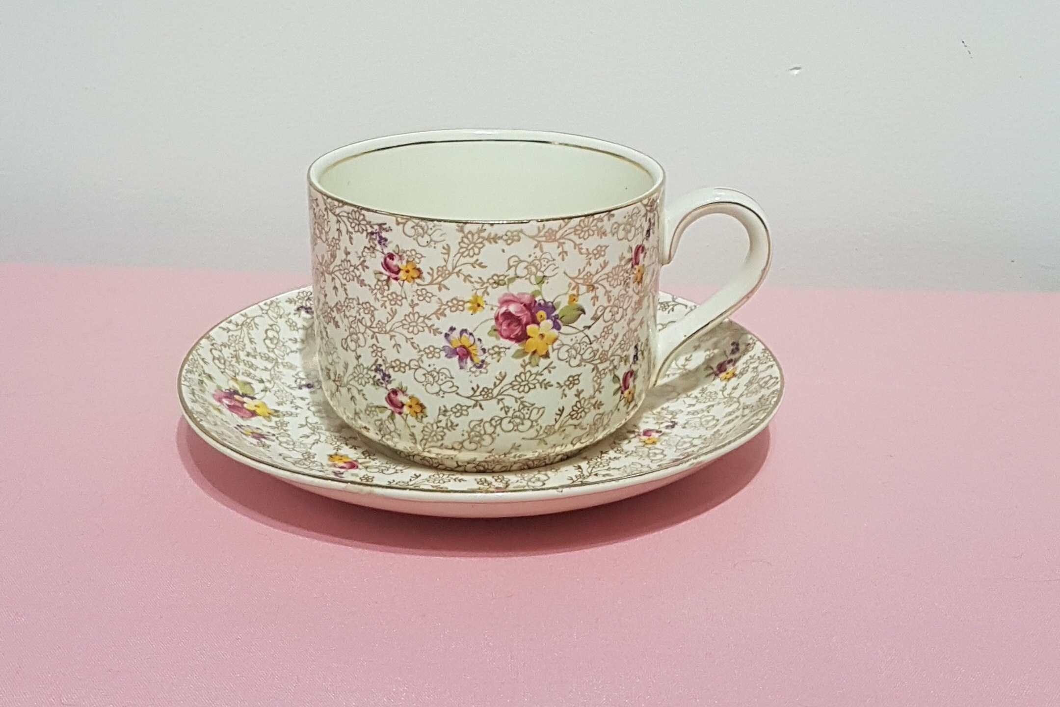 Large Tea Cup Planter James Kent Pearl Delight Gold Chintz Floral Chintz English Tea