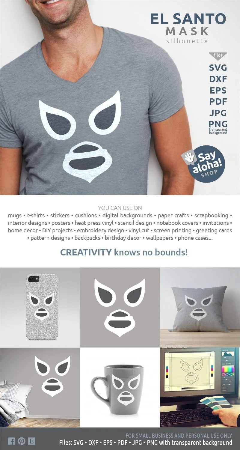 Pdf Libre El Santo Mask Svg Eps Dxf Png Pdf Jpg Files Lucha Libre Mexican Wrestling Clipart Silhouette
