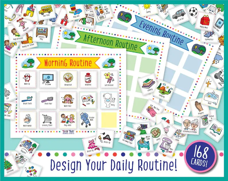 Printable Daily Visual Schedule 168 Routine and Activity Etsy