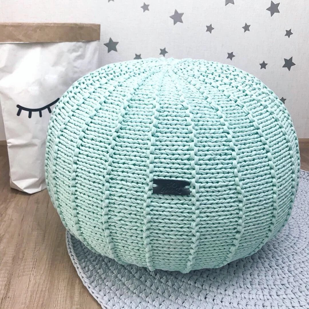 Pouf Mint Pale Mint Knitted Pouf Floor Pouf Ottoman Chunky Knit Pouf Knitted Ottoman Mint Footstool Mint Decor