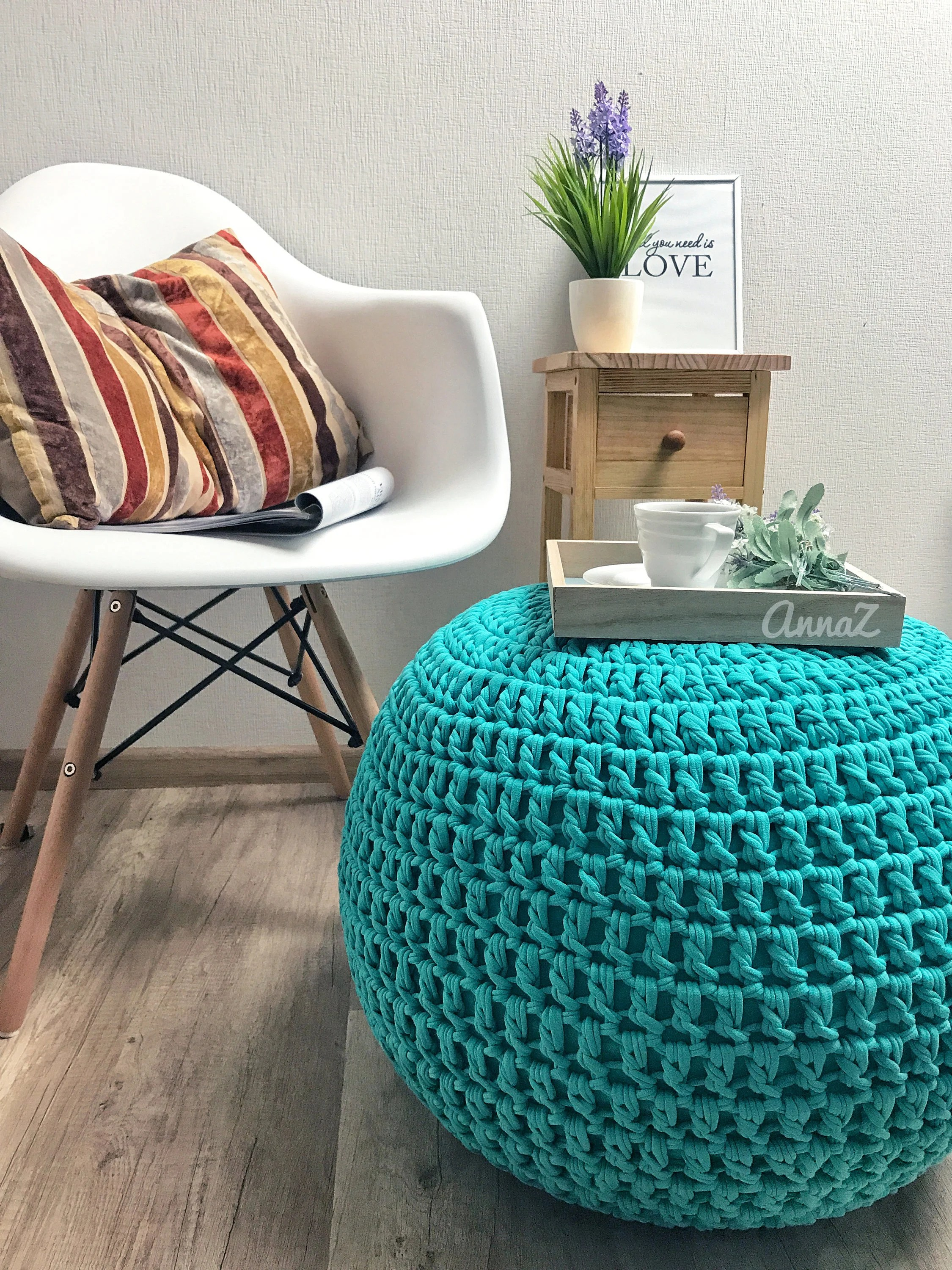 Pouf Mint Mint Chunky Pouf Ottoman Blue Green Pouf Knited Pouf Handmade Floor Cushion Footstool Crochet Pouf