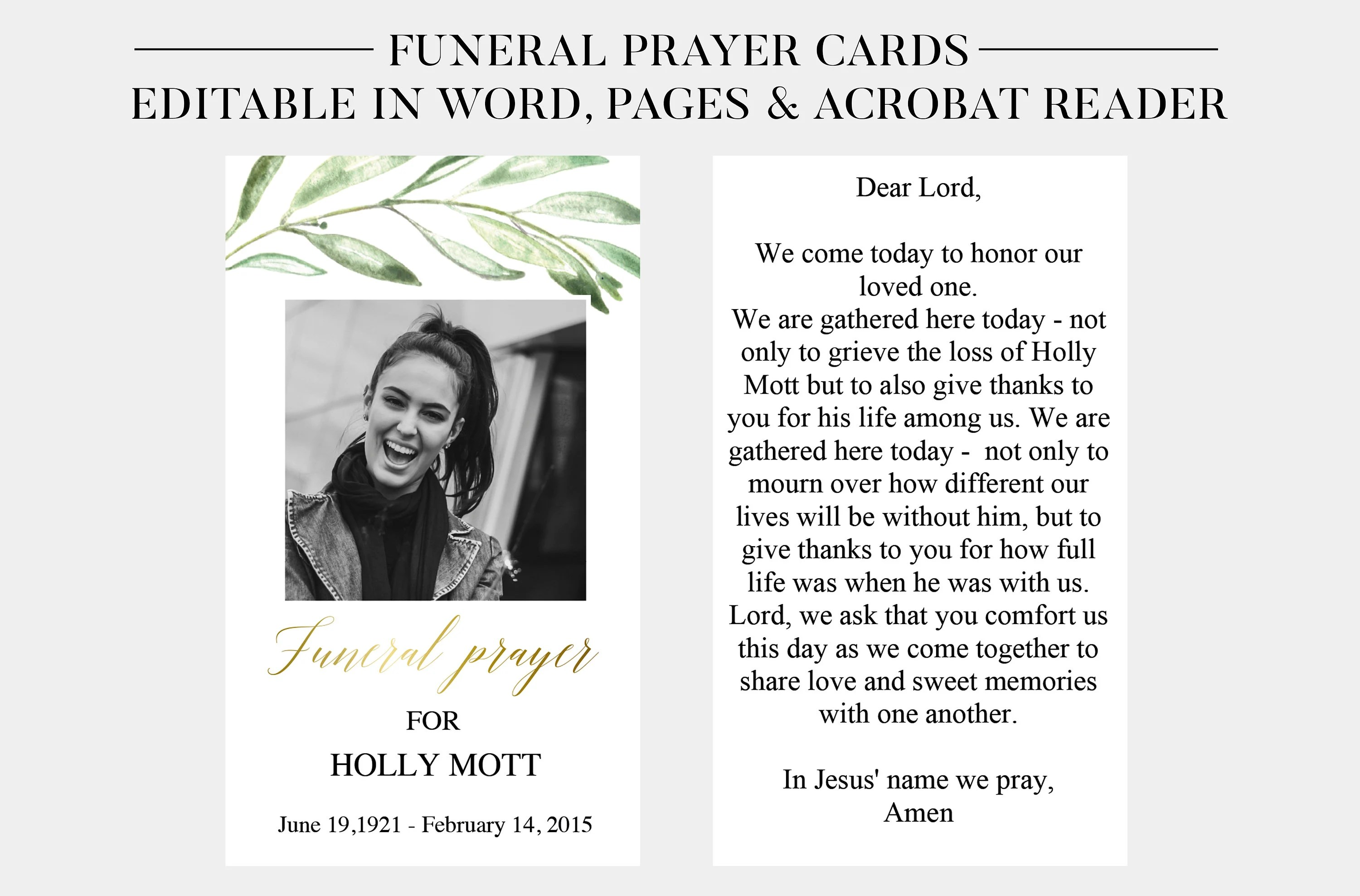 Funeral Prayer Cards Printable Funeral Cards Memorial Etsy